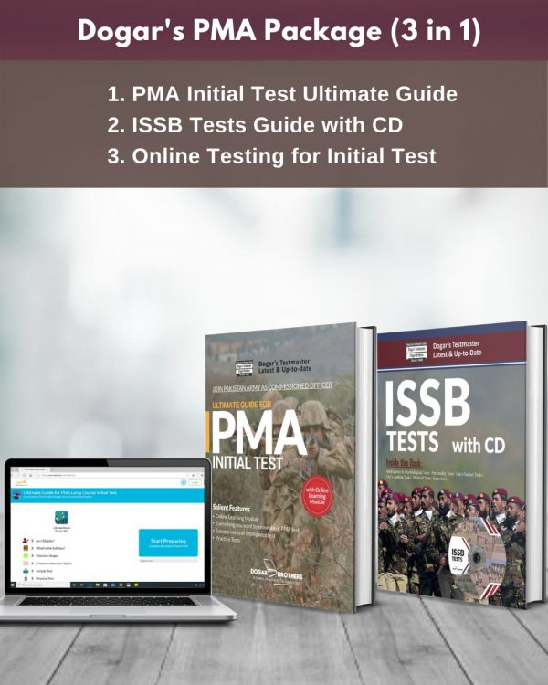 PMA Package 3 in 1 (PMA Initial Test Ultimate Guide + ISSB Tests Guide + Online Testing for Initial Test)