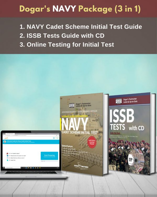 Navy Package 3 in 1 (Navy Cadet Scheme Initial Test Guide + ISSB Tests Guide + Online Testing for Initial Test