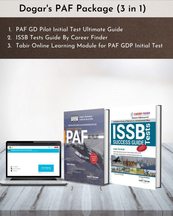 Dogar's PAF GD Pilot Package 3 in 1 (PAF Initial Test Ultimate Guide + ISSB Tests Guide + Online Testing for Initial Test)